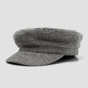 Zara checkered plaid grey newsboy fisherman hat S